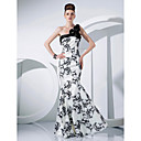 Formal Evening/Military Ball Dress - Ivory Trumpet/Mermaid One Shoulder Floor-length Taffeta