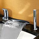 現代風 バスタブとシャワー 滝状吐水タイプ / ワイドspary with  セラミックバルブ 二つのハンドル三穴 for  クロム , 浴槽用水栓