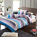 Morden Grey/Blue Stripe With Flowers Flannel Full / Queen / King 4-Piece Duvet Cover Set