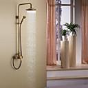 アンティーク調 シャワーシステム レインシャワー ハンドシャワーは含まれている with  セラミックバルブ シングルハンドル三穴 for  アンティーク真鍮 , シャワー水栓