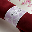 Personalized Paper Napkin Ring - Pink Floral Design (Set of 50)