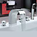 現代風 バスタブとシャワー ワイドspary / ハンドシャワーは含まれている with  セラミックバルブ 3つのハンドル5つの穴 for  クロム , 浴槽用水栓