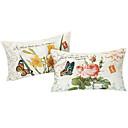set od dvije zemlje cvjetnim pamuka / lana dekorativni jastuk naslovnici