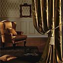 2パネル 欧風 / 新古典主義 花/植物 ゴールド ベッドルーム ポリエステル パネルカーテンドレープ