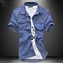 メンズスリムソリッドカラーデニムショートスリーブシャツ