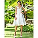 Lanting Bride® A-Linie / Princess Drobná / Nadměrné velikosti Svatební šaty - Šaty na hostinu Malé bílé Ke kolenům Do V Taft sKorálky /
