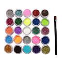 25 boja glitter prah za nail art ukrasi s kistom