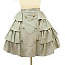 Vintage Vojna Kratki Visoki struk Side volan bež pamuk Punk Lolita suknja &