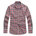 男性用 チェック カジュアル シャツ,長袖 コットン レッド