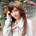 Capless Long Light Brown Straight Synthetic Fiber Wigs Side Bang