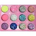 12-boja Glitter šljokice u prahu Nail Dekoracije