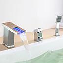 現代風 ローマンバスタブ LED 滝状吐水タイプ ワイドspary with  セラミックバルブ シングルハンドル三穴 for  クロム , 浴槽用水栓