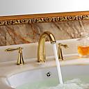 田舎風 組み合わせ式 セラミックバルブ 二つのハンドル三穴 with Ti-PVD バスルームのシンクの蛇口