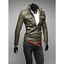 男性用 プレイン カジュアル ジャケット,長袖,コットン混,ブラック / ブラウン / グリーン