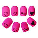 yemannvyou®24pcs savjeta crtić pun pokriti noktiju Pink ljubavi srce