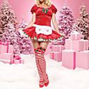 コスプレ衣装 サンタスーツ イベント/ホリデー ハロウィーンコスチューム パッチワーク ドレス クリスマス 女性用 コーデュロイ