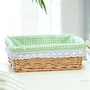 Classic Small Béžová Ratanový koš na prádlo s Green Plaid podšívka