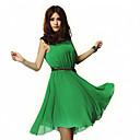 Ailuoer Nepravidelné šifon šaty bez rukávů (zelená)