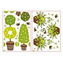 Cute Cartoon Lovely Rostliny hrncové okenní samolepky - 2 fotky z jednoho kusu