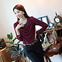 Ailuoer Pearl Chiffon Tričko kulatý výstřih s dlouhým rukávem košile dna (Wine)