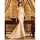 Lanting Bride® トランペット/マーメイド 大きいサイズ / 小柄 ウェディングドレス - クラシック/タイムレス / エレガント/ゴージャス シンプルの昇華 / カラー/カラーアクセント スイープ/ブラシトレーン ストラップレス サテン とともに