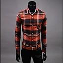 男性用 プレイン カジュアル シャツ,長袖 オーガニックコットン ブラウン / レッド