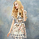WPK Woemn je Vintage cvjetni print kratkih rukava haljina