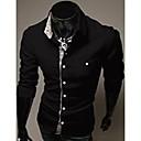 U2M2 Muška Zanimanje crna Rever Vrat Casual Buckle Shirt