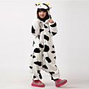 Kigurumi Pyžama Kráva Leotard/Kostýmový overal Festival/Svátek Animal Sleepwear Halloween Bílá / Černá Zvířecí Flanel Kigurumi Pro Dítě