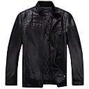 男性用 プレイン ジャケット,半袖,カーフスキン / レザー,ブラック