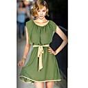Dámská High Waist Bow Skládaný šifon šaty