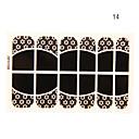 12PCS欠乏症の花の形の黒いレースのネイルアートステッカーNO.14