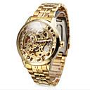 Muškarci Ručni satovi s mehanizmom za navijanje Automatski Hollow graviranje Nehrđajući čelik Grupa Zlatna Brand- WINNER