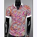 メンズカフスプライシングカラーカジュアル半袖花シャツ