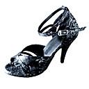 Dámské - Taneční boty - Latina - Kůže - Podpatek na míru - Černá