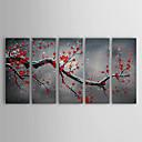 Ručně malované Květinový/Botanický motiv Pět panelů Plátno Hang-malované olejomalba For Home dekorace