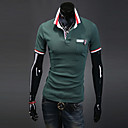 Sanjarenje Uomo Muška Korejski Bodycon Rever Neck kratkih rukava Green Shirt