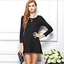 Ladies 'crna Slim Long rukav pamuk s visokim strukom plisirane haljine