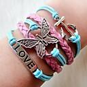 Ženska Western Moda multideck Butterfly Sidro Pletena narukvica
