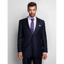 Obleky Na míru Otevřené Jednořadové se dvěma knoflíky Vlna / Polyester 2 ks Tmavě modrá Rovné s klopou Žádný (rovné nohavice)Žádný (rovné