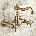 壁式 二つのハンドル二つの穴  アンティーク真鍮 水栓