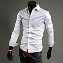 Zian® Men's Shirt Collar Fashion Stitching Contrast Color Business Casual Long Sleeve Shirt O