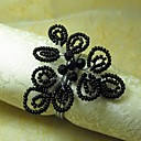 Black Beads ubrousky Ring, GlassBeades, 4cm, sada 12,