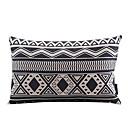 黒と白の幾何学的な綿/リネン装飾枕カバー
