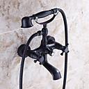 伝統風 バスタブとシャワー ハンドシャワーは含まれている with  セラミックバルブ 二つのハンドル二つの穴 for  オイルブロンズ , 浴槽用水栓
