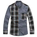 Le Smart Muškarci Kragna košulje Dugi rukav Shirt & Bluza Siva - SL13612