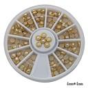 100ks bílá perla na nehty kovový nákližkem kolo umění dekorace