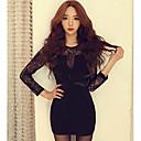 jeden xuan® dámská korejsky podzim slim pletení s dlouhým rukávem s vysokou necke taška hip krajkové sukni