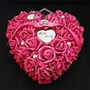 心臓の形状は、結婚式のための花真珠のリングボックス枕(26 * 26 * 13センチメートル)サンゴ結婚式をバラ