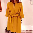 Women's Elegant Solid Color Bow  Wool Coat